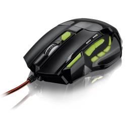 Mouse Usb Optico c/Led Verde Gamer 2400Dpi mLtMO208 Multilaser