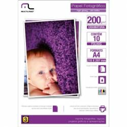 Papel Glossy Photo Foto A4 c/ 10fls 200Gr mLtPE011