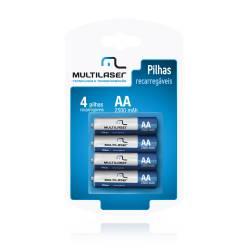 Pilha AA 2A c/4ud Recarregavel 2500mah mLtCB052 Multilaser