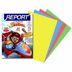 Papel A4  75g Caixa c/25pt 100fls Verde Seninha Report