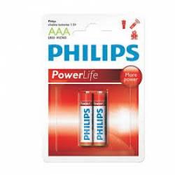 Pilha AAA 3A Alcalina 2uds Palito uds Philips