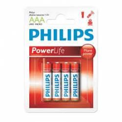Pilha AAA 3A Alcalina 4uds Palito Philips