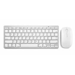 Teclado e Mouse Optico s/Fio USB Mini Slim Branco mLtTC165 Multimidia