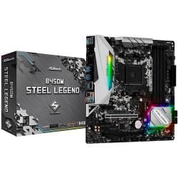 Placa Mãe p/AMD AM4 DDR4 B450M Steel Legend Asrock