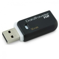 Pen-Drive 16gb Preto/Bco Ret Kingston 3*