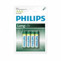 Pilha AAA 3A Long Live 4uds Palito Philips