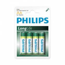 Pilha AA 2A Long Life 4 uds Pilha Philips